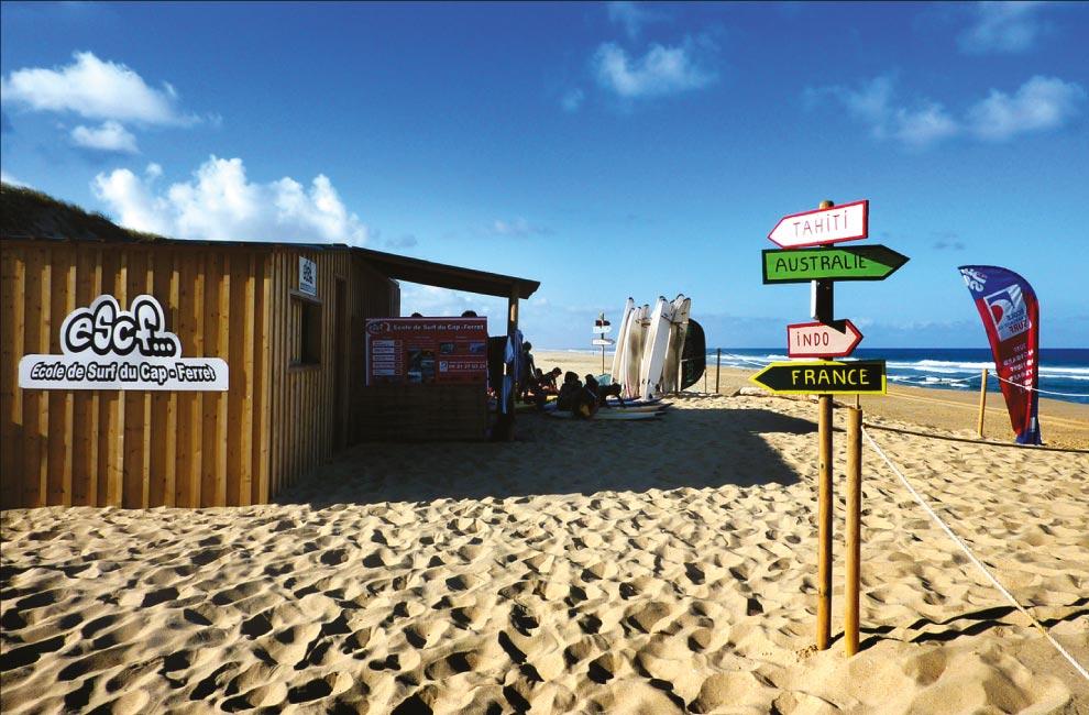l'accueil de l'école de surf du cap ferret